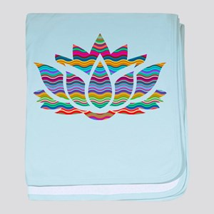 Rainbow Wave Lotus baby blanket