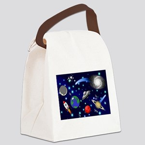 Kids Galaxy Universe Illustration Canvas Lunch Bag