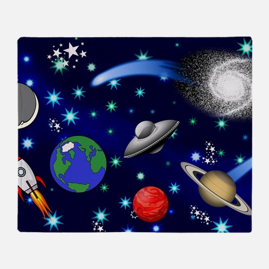 Kids Galaxy Universe Illustrations Throw Blanket