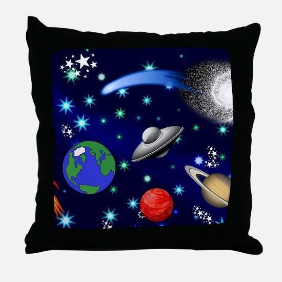 Kids Galaxy Universe Illustrations Throw Pillow