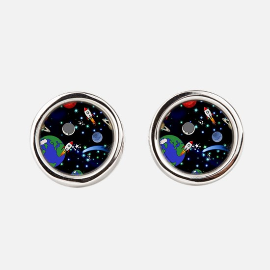 Kids Galaxy Universe Illustrations Round Cufflinks