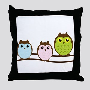 Owl Family Cute Throw Pillow