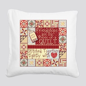 Quilting Friendships Square Canvas Pillow