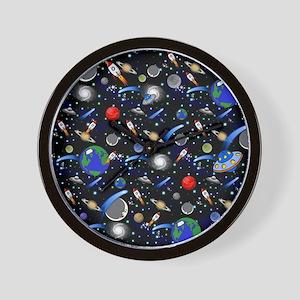 Kids Galaxy Universe Illustrations Wall Clock