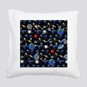 Kids Galaxy Universe Illustra Square Canvas Pillow