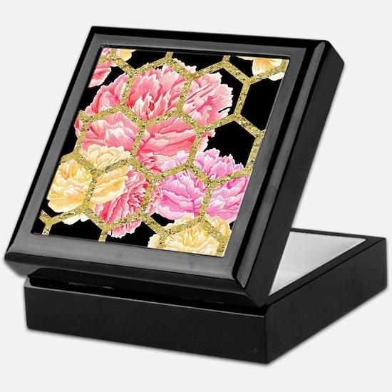 Black & Gold Hexagon Floral Water Keepsake Box