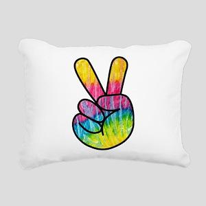 Rainbow Tie-Dye Peace Ha Rectangular Canvas Pillow