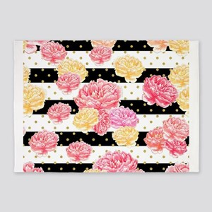 Watercolor Peony Flowers Stripes Go 5'x7'Area Rug