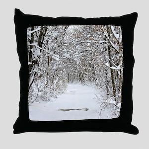 Snow trail Throw Pillow