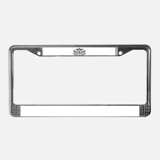 Rainbow Wave Lotus License Plate Frame