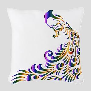 Mardi-Gras Peacock Woven Throw Pillow