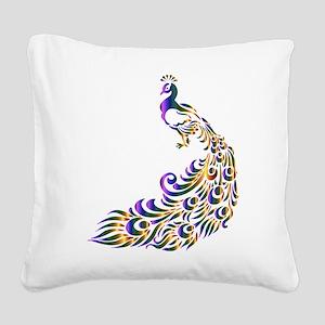 Mardi-Gras Peacock Square Canvas Pillow