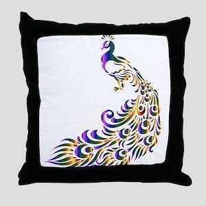Mardi-Gras Peacock Throw Pillow