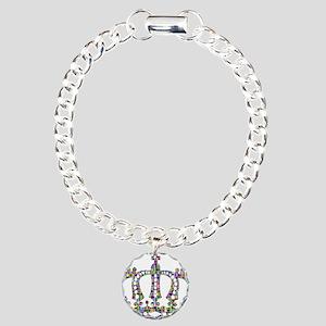 Royal Rainbow Crown Charm Bracelet, One Charm