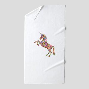Prismatic Rainbow Unicorn Beach Towel