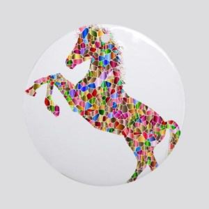 Prismatic Rainbow Unicorn Round Ornament