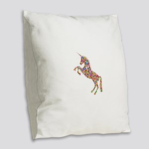 Prismatic Rainbow Unicorn Burlap Throw Pillow