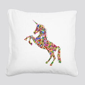 Prismatic Rainbow Unicorn Square Canvas Pillow