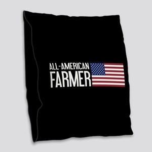 Farmer: All-American (Black) Burlap Throw Pillow