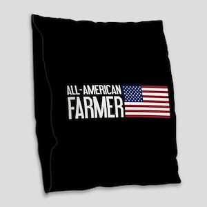 Farmer: All-American (Black) Burlap Throw Pillow