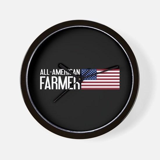 Farmer: All-American (Black) Wall Clock