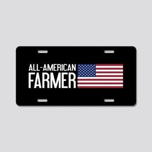 Farmer: All-American (Black Aluminum License Plate