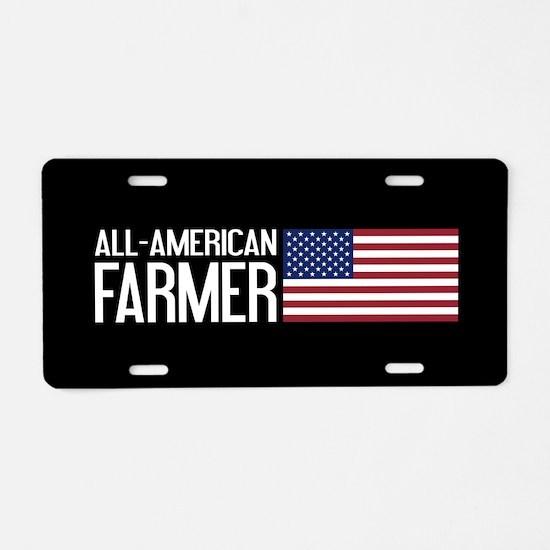 Farmer: All-American (Black Aluminum License Plate