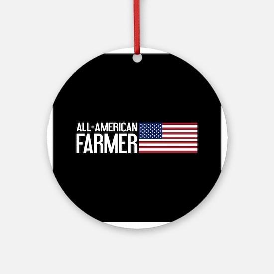 Farmer: All-American (Black) Round Ornament