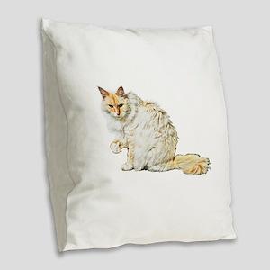 Bad kitty flipping the bird Burlap Throw Pillow