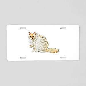 Bad kitty flipping the bird Aluminum License Plate