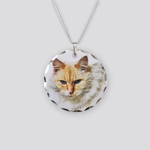 Bad kitty flipping the bird Necklace Circle Charm