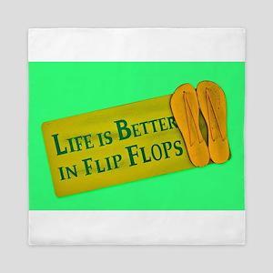 Life is Better in Flip Flops (Yellow/ Queen Duvet
