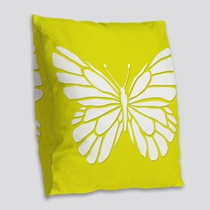 Golden Butterfly Burlap Throw Pillow