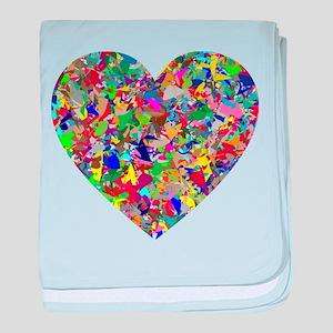 Rainbow Paint Splatter Heart baby blanket