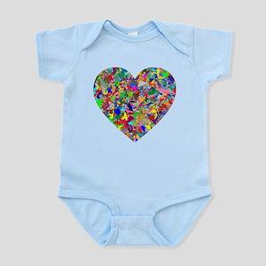 Rainbow Paint Splatter Heart Body Suit