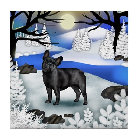 FRENCH BULLDOG DOG FROZEN RIVER Tile Coaster