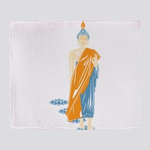 Standing Buddha (White) Throw Blanket