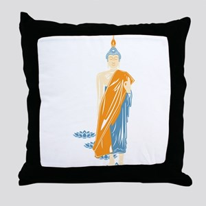 Standing Buddha (White) Throw Pillow