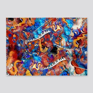 Colorful Musical Instruments Art Print 5'x7'Area R