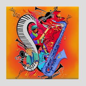 I Love Jazz Art Colorful Tile Coaster