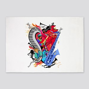 Jazz Musicians Piano Colorful Art Print 5'x7'Area