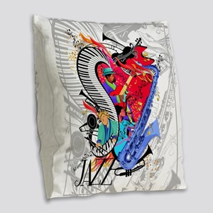 Jazz Music Art I Love Jazz Burlap Throw Pillow