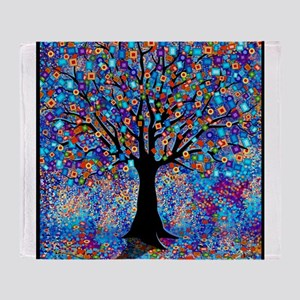 Colorful Tree of Life Art Print Throw Blanket
