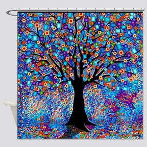 colorful tree of life art print shower curtain - Colorful Shower Curtains