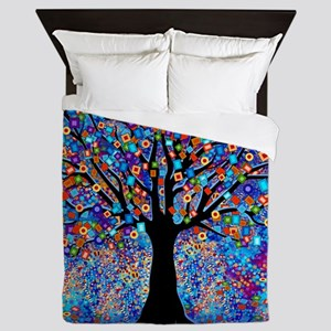Colorful Tree of Life Art Print Queen Duvet