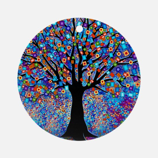 Colorful Tree of Life Art Print Round Ornament