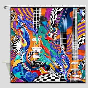 Rock Band Electric Guitar Colorful Music Print Sho