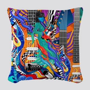 Rock Band Electric Guitar Colorful Music Print Wov