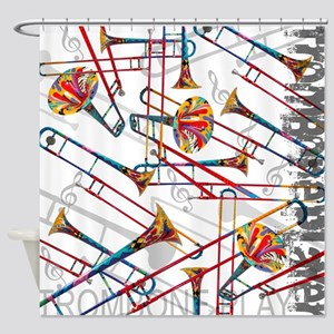 Colorful Trombone Shower Curtain Music Theme