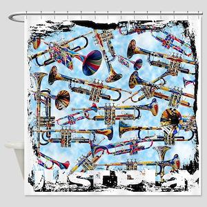 Trumpet Design Shower Curtain Colorful Music
